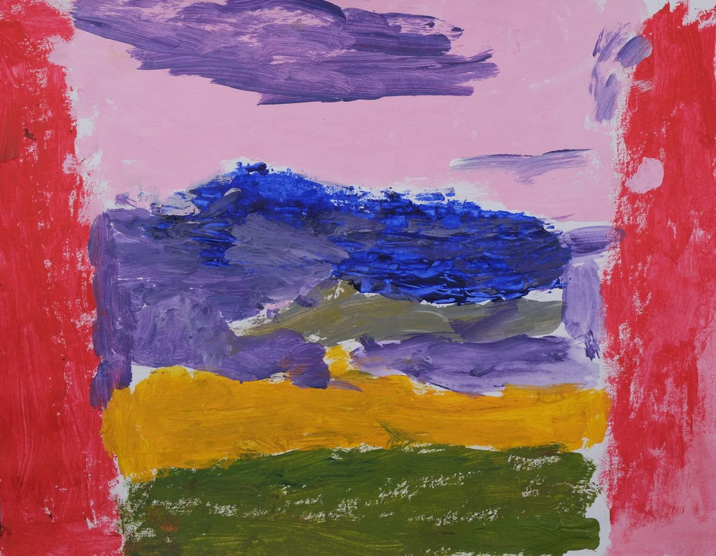 Acrylic on paper with red vertical stripe on left and right edge with purple, pink, blue, yellow and green horizontal rows down the middle