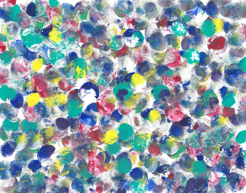 On a white background are circles of aqua, dark blue, deep red, gray, and yellow. Some of the circles have a mottled, dotted surface.