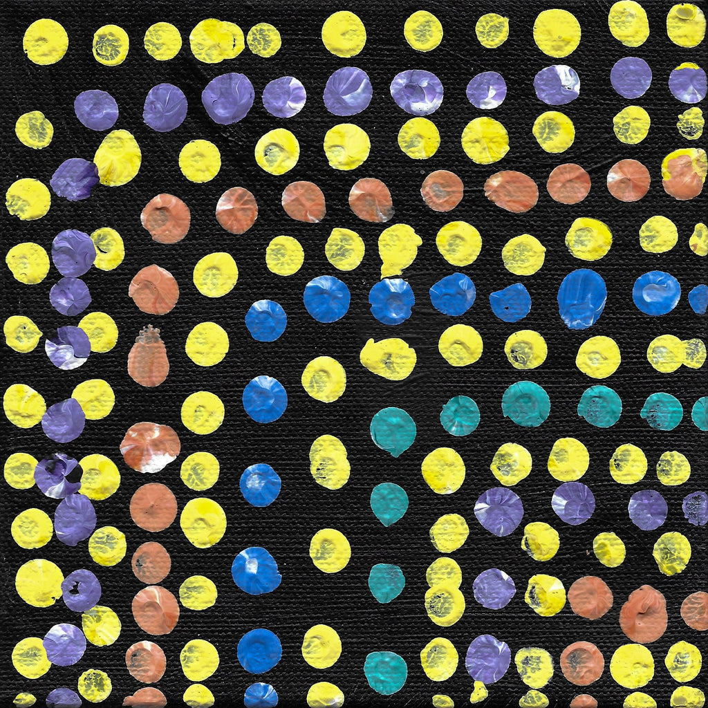 Acrylic on canvas artwork with black background with yellow, purple, coral, blue and teal dots in lines