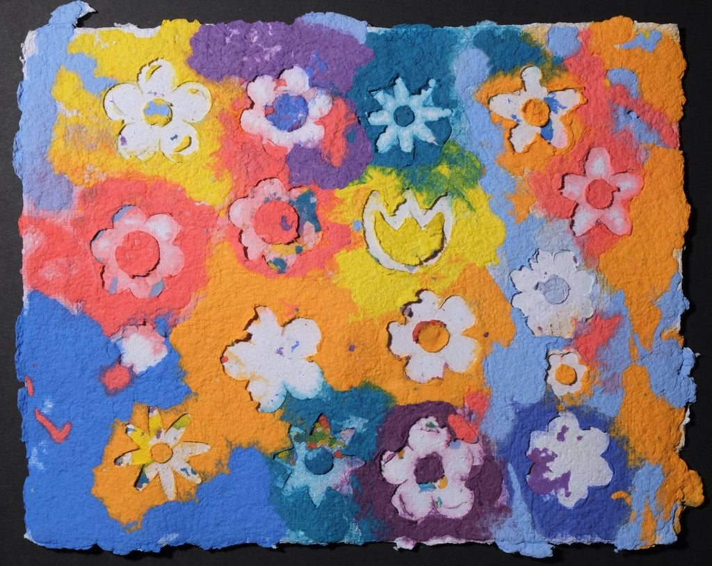 Pigment on recycled paper artwork with yellow, purple, periwinkle, blue, red, orange and yellow colored background with all varying types of white flowers overlaid