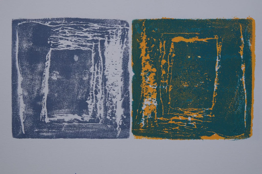 Ink on paper artwork against gray background with a large blue block with white square on the left and a large teal block with orange yellow square on the right