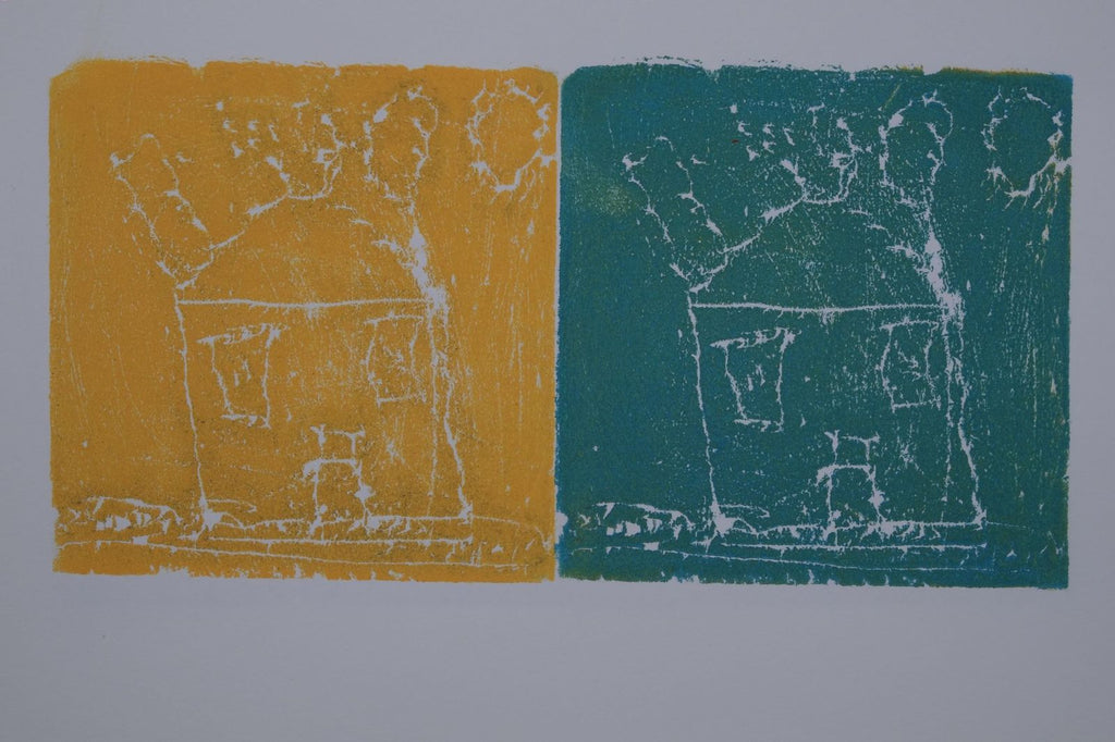 Ink on paper artwork with yellow block depicting a white house on the left and a teal block depicting a white house on the right