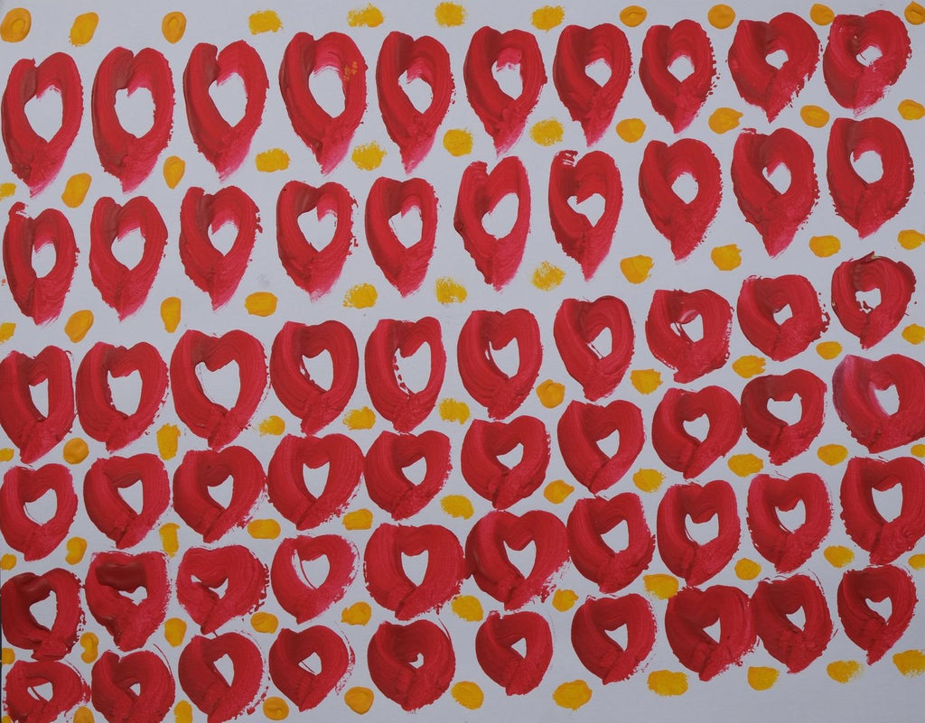 Acrylic on paper artwork against a white background with horizontal rows of red hearts and golden dots