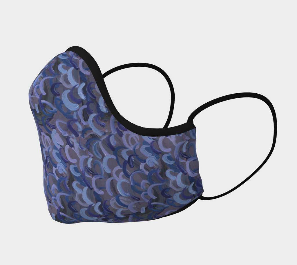 Side of mask with abstract design of gray with light blue, dark blue, and lavender swirls.