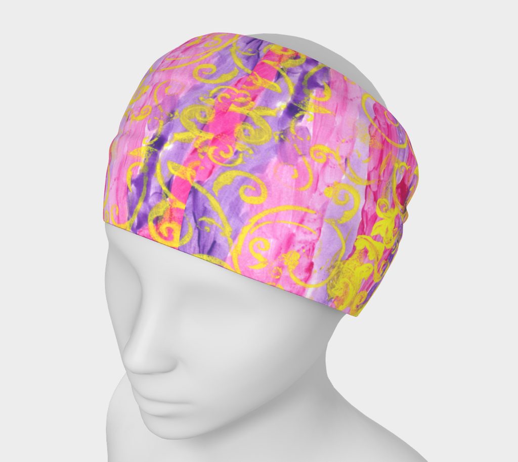 Mannequin wearing headband with pink and purple stripes and yellow swirls all around.