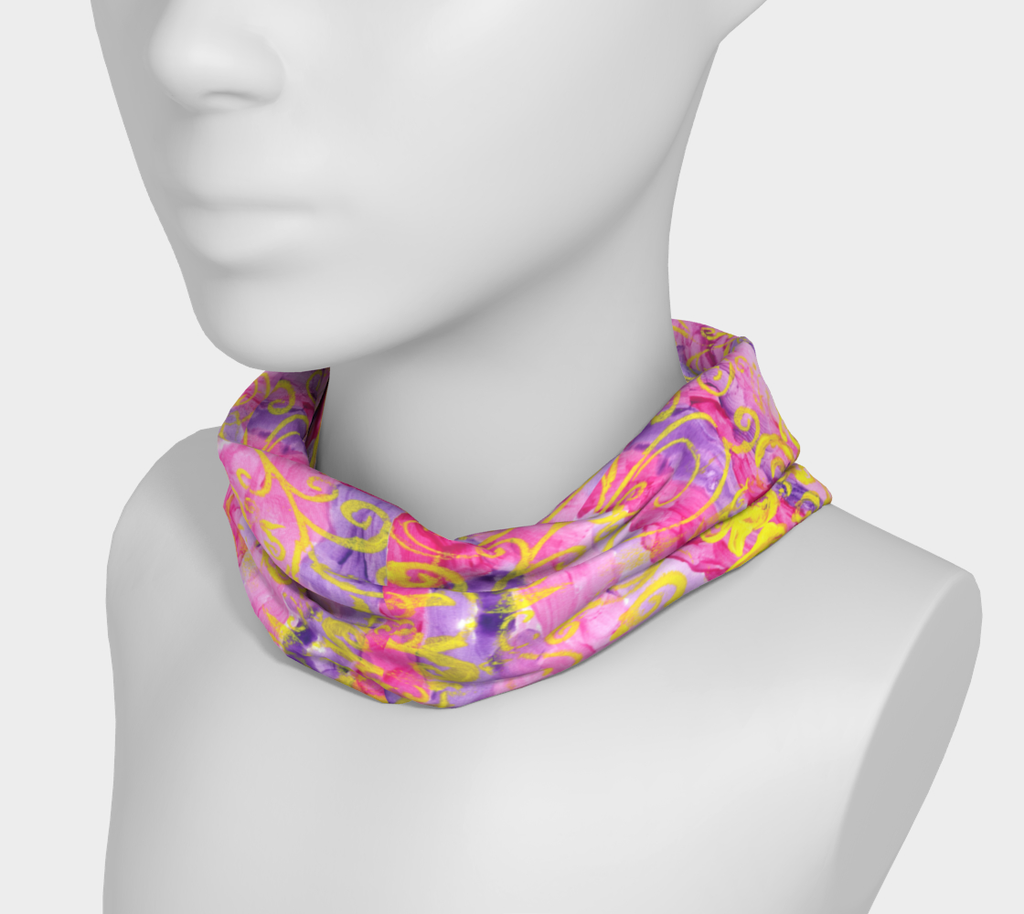Mannequin wearing headband around neck with pink and purple stripes and yellow swirls all around.