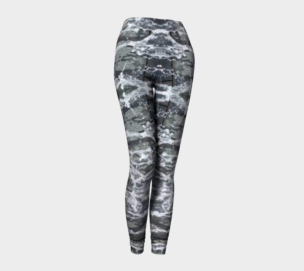 Leggings with gray, white and black design depicting running water