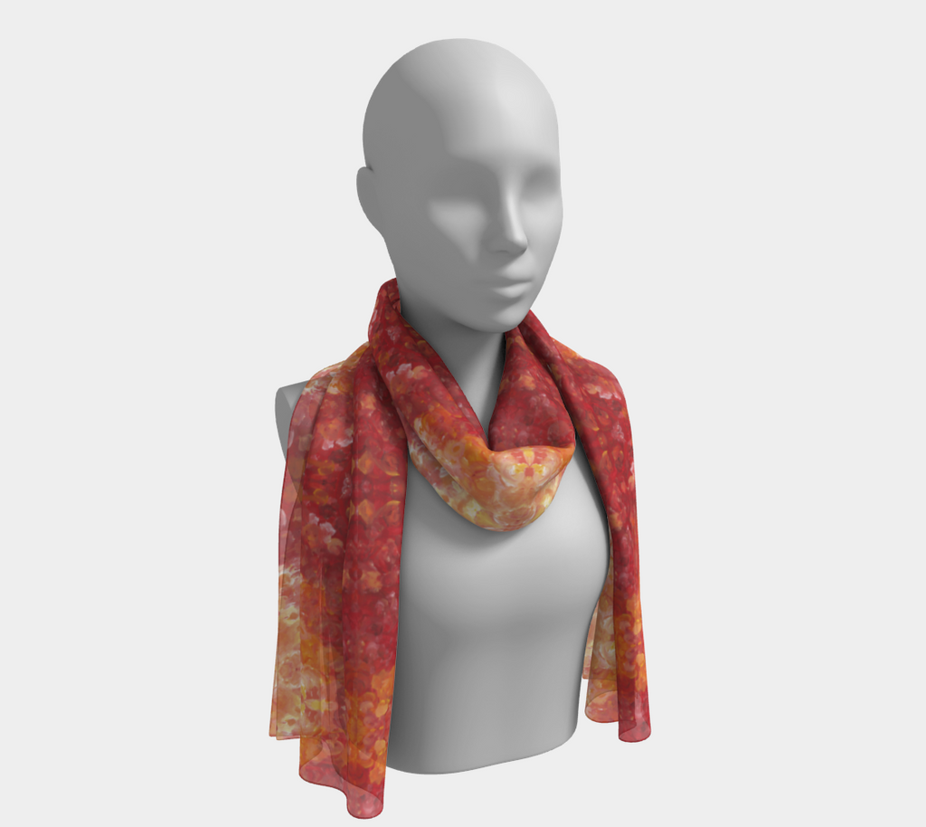 Mannequin wearing a scarf with shades of Red and Orange