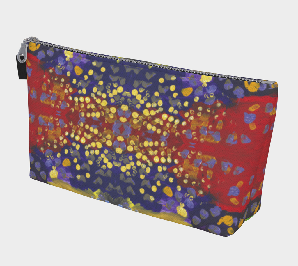 Zippered makeup bag with red, purple and yellow background with dots