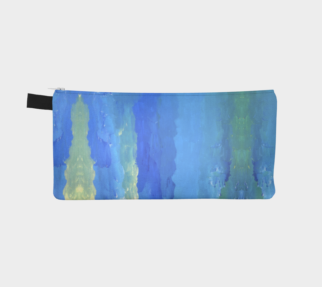 pencil case with a vertical gradient shades of blue, green, and light yellow