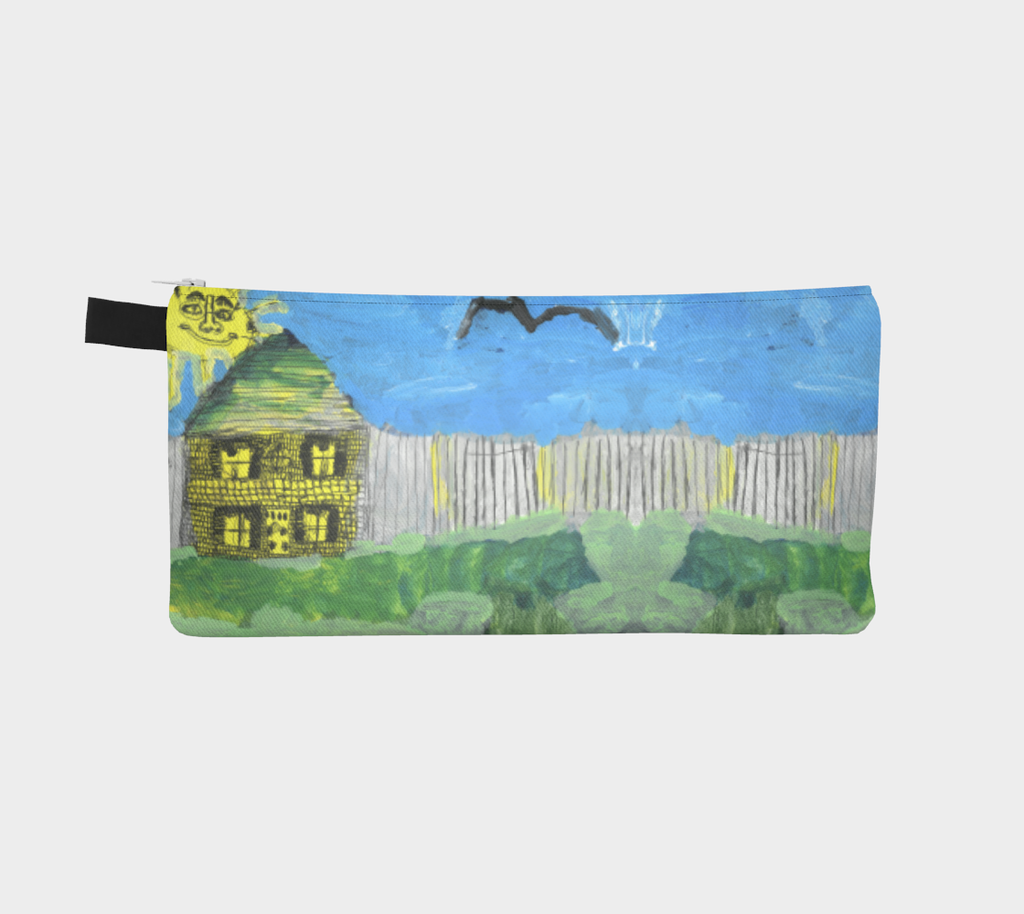 Zipper pencil case with a two sided image of a House, fence, sun, and bird