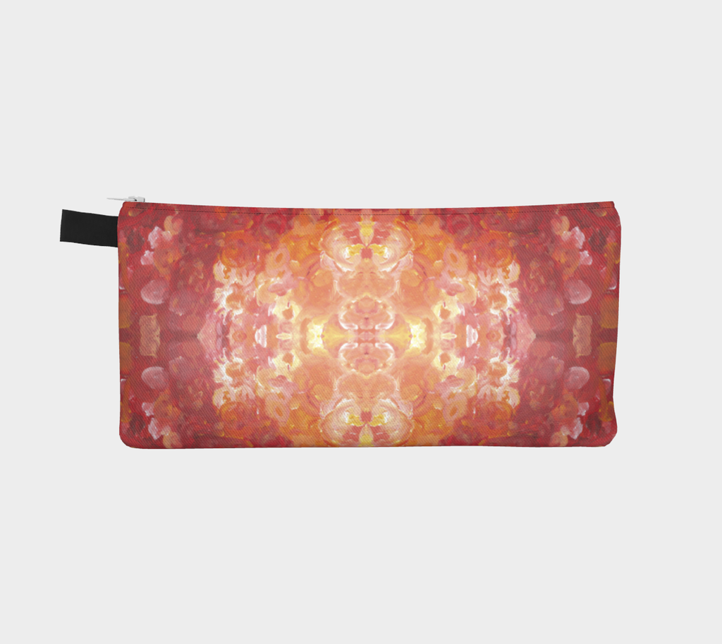 pencil case with white in the center and radiating outward shades of orange and red