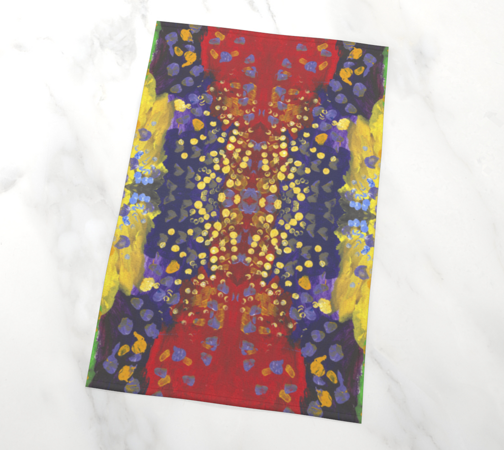 Tea towel depicting red, purple, and yellow background with dots