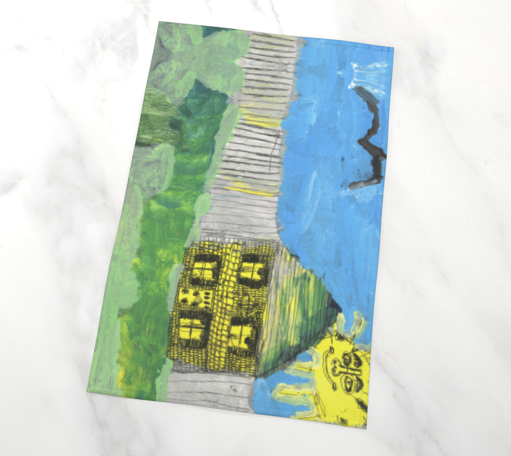 Tea towel of an image of a House, fence, sun, and bird