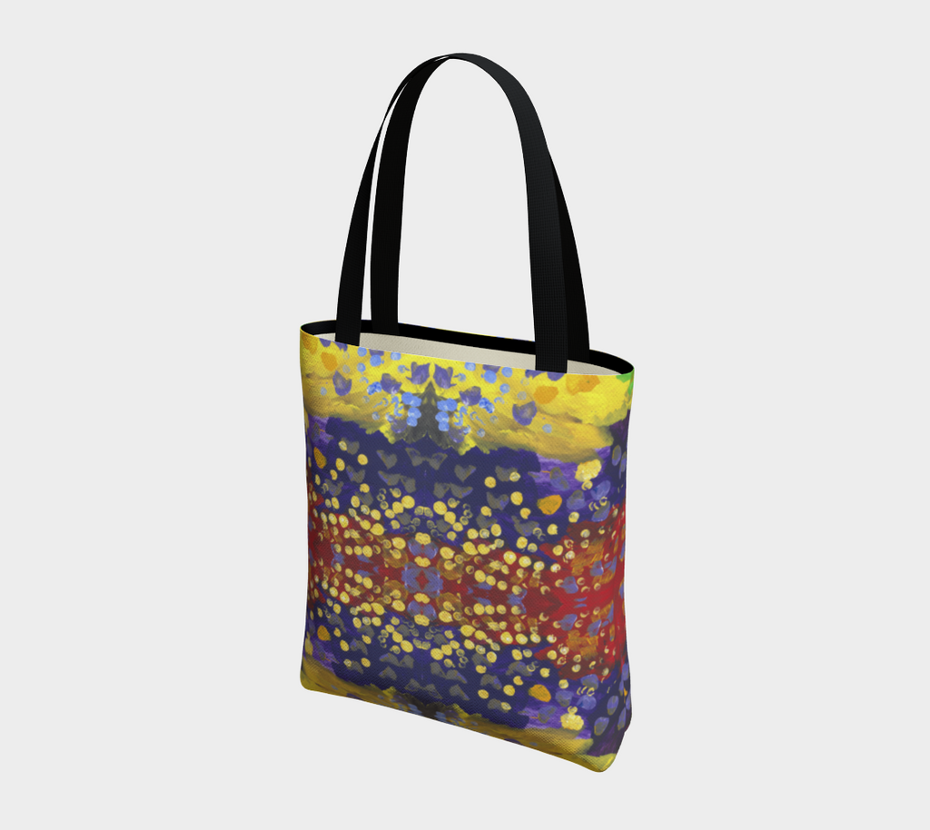 Totebag with double black straps with red, purple, and yellow background with dots