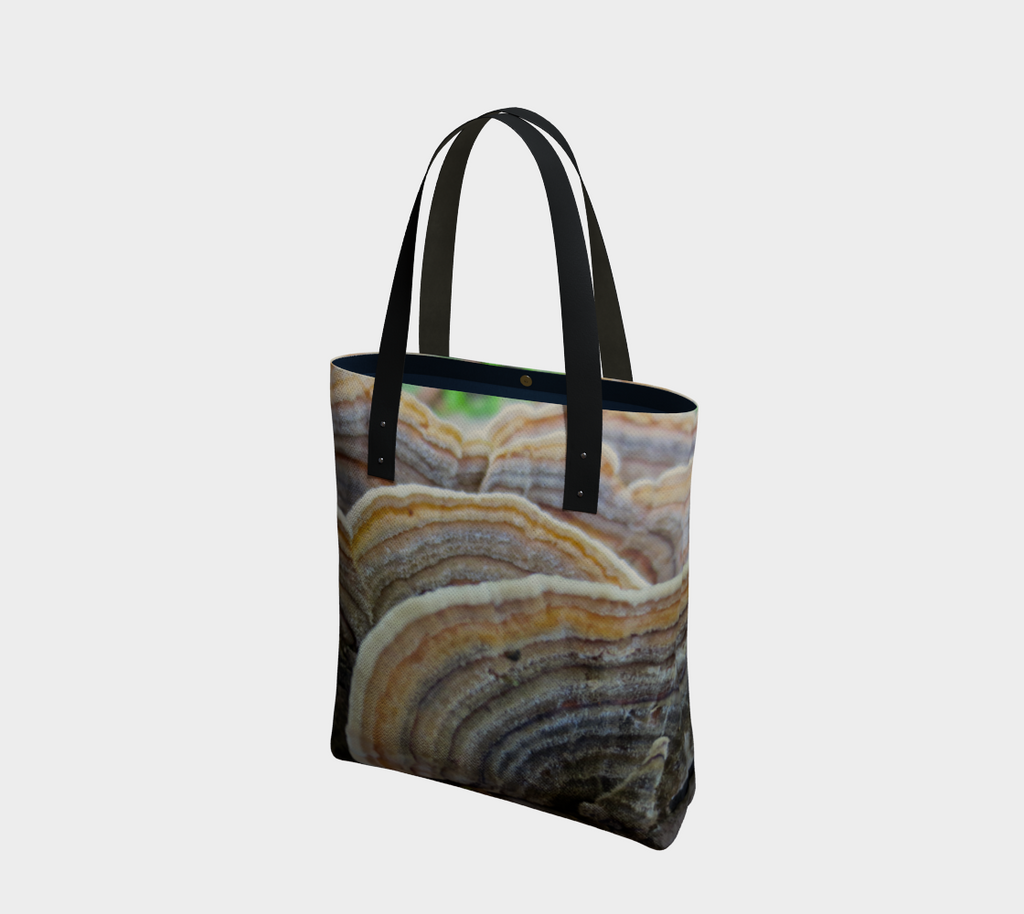 Two-sided lined tote bag with black straps, Image is of turkey mushrooms