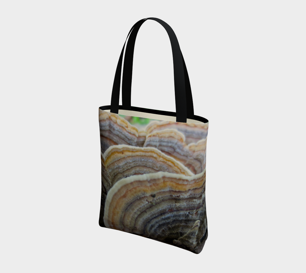 Two-sided canvas tote bag with black straps, Image is of turkey mushrooms