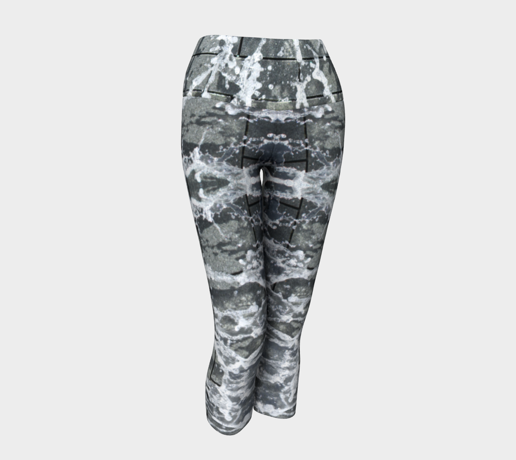 Yoga capris with gray, white and black design depicting running water