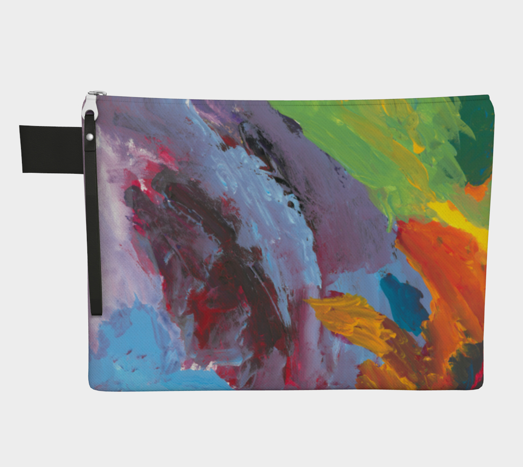 Zippered carryall with lavender, light blue, green, yellow, orange and red paint streaks
