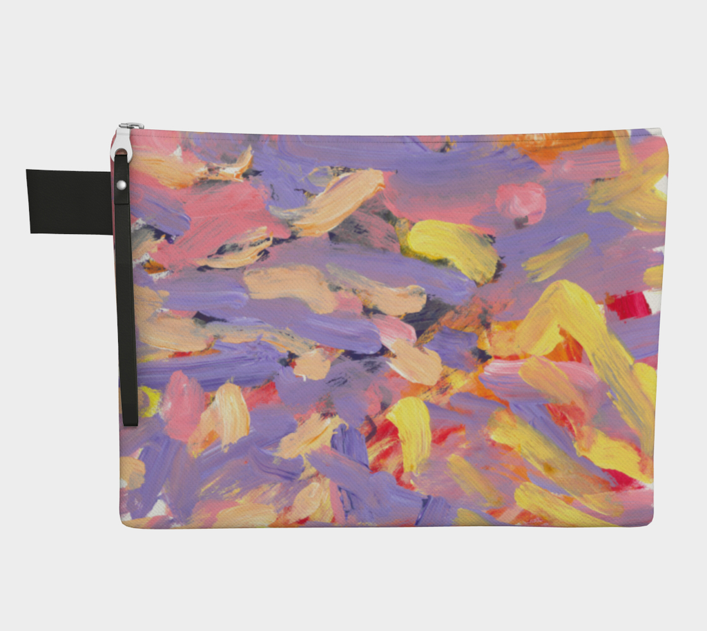 Zippered carryall with purple, pink, yellow and white streak design