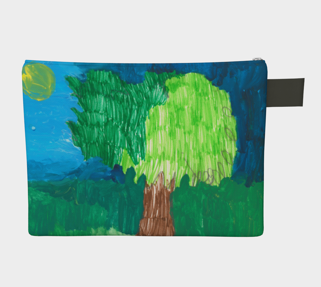 Zipper Pouch with leather pull tab. Image on the bag is two sided and is of a tree and sun