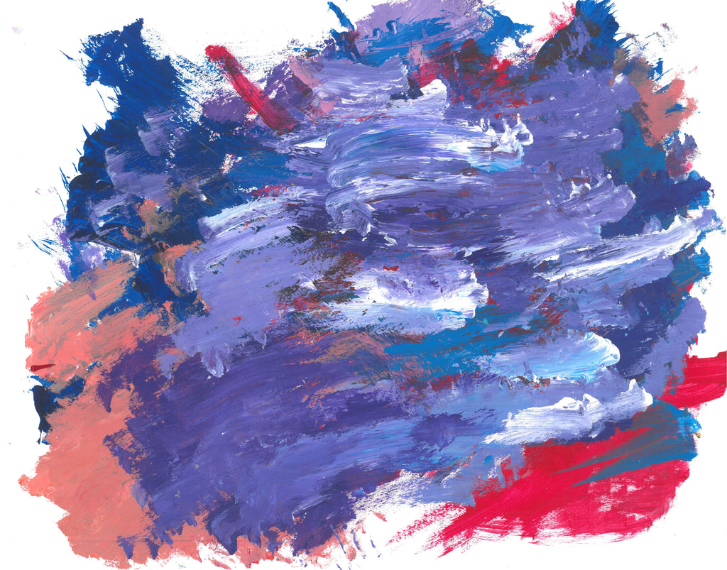 Abstract painting with short horizontal brushstrokes of all shades of purple. In the background seeping through gaps and edges of the purple strokes are sections of blue, red, and coral color.