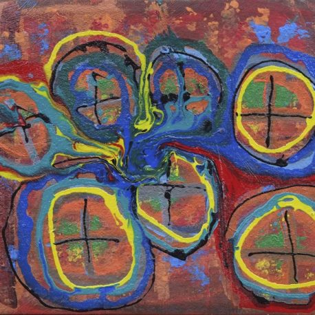 Acrylic on canvas artwork with dark red and orange background beneath dark blue, yellow, black and green interlocking circles
