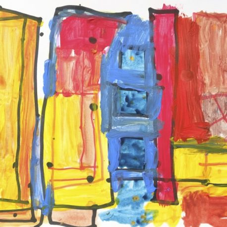 Acrylic on paper artwork of yellow, red, blue and orange squares and rectangles outlined in black