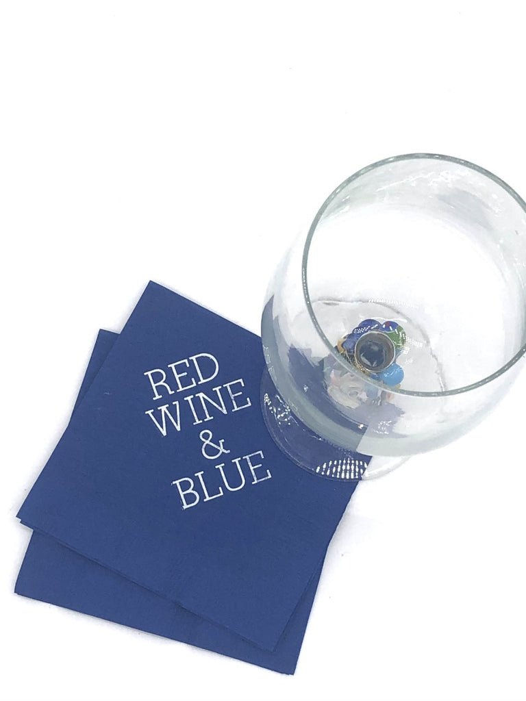 Blue napkins with white Red Wine & Blue slogan