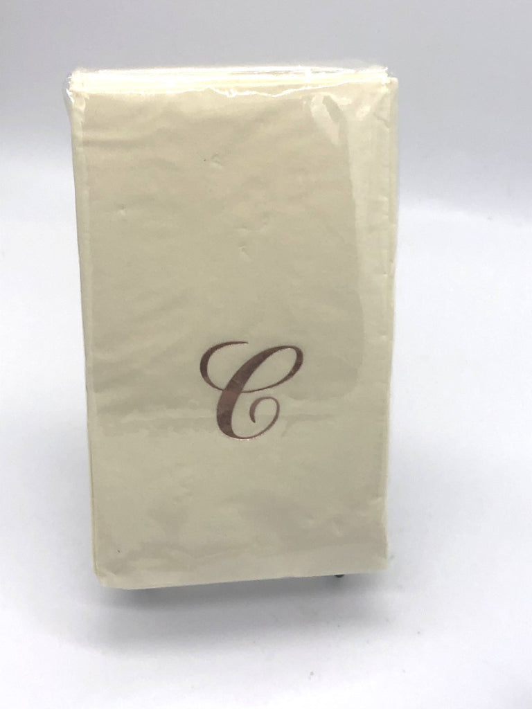 Ivory dinner napkins with monogrammed C
