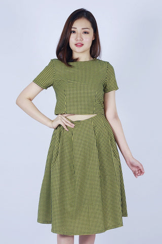 MARTHA HOUNDSTOOTH MIDI SKIRT ( YELLOW)