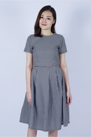 MARTHA HOUNDSTOOTH MIDI SKIRT ( WHITE)