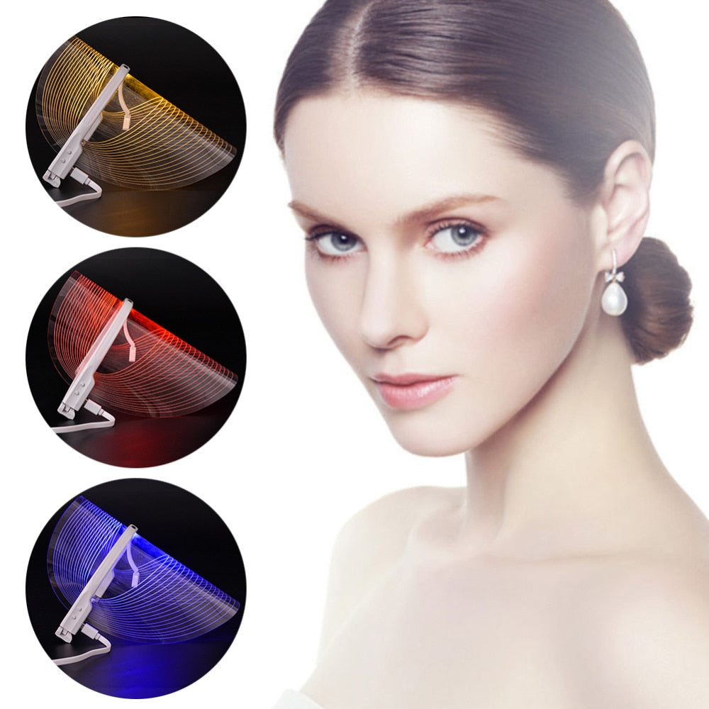 3 colors led light facial therapy mask