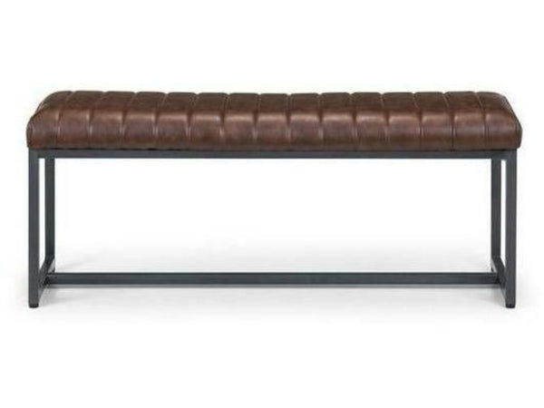 Brooklyn Upholstered Bench Brown Faux Leather