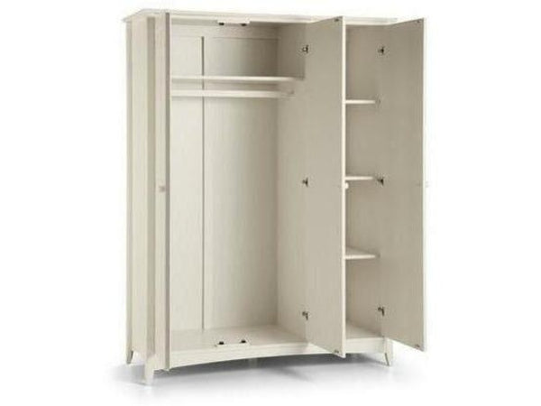 Cameo 3 Door Fitted Wardrobe - Stone White