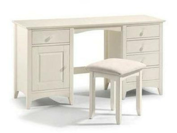 Cameo Dressing Table Stool Stone White