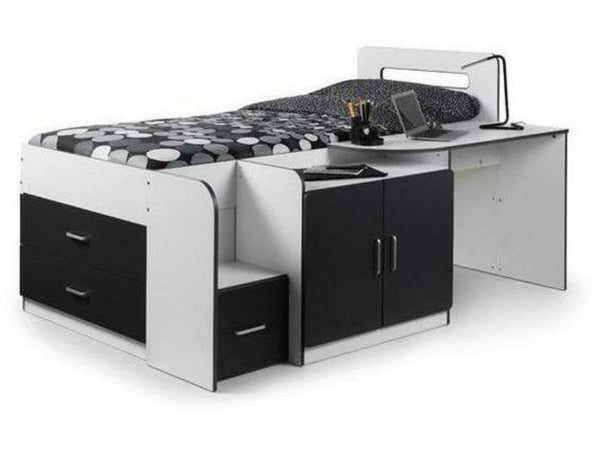 Cookie Cabin Bed - White/Charcoal Grey Finish