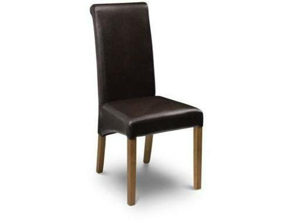 Cuba Chair - Brown Faux Leather With Oak Finish Legs (Pack Of 2)