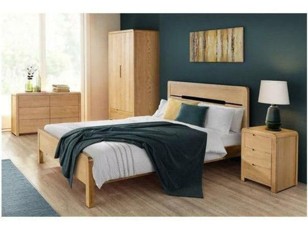 Curve Oak 3 Drawer Bedside