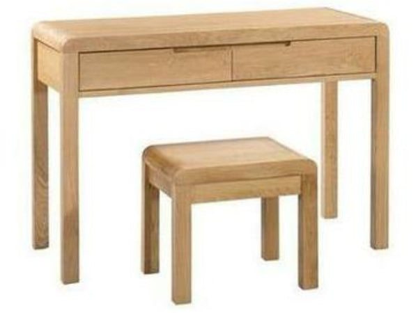 Curve Oak 2 Drawer Dressing Table & Stool