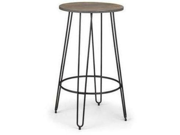 Dalston Mocha Elm/Black Round Bar Table