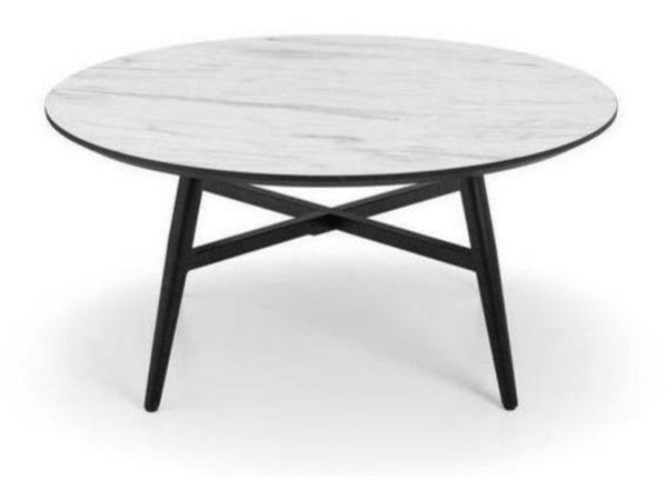 Firenze Circular Marble Effect Coffee Black Legs