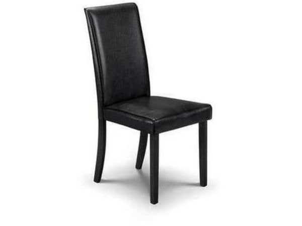 Hudson Dining Chair - Black Faux Leather with Black Lacquered Legs (Pack of 2)