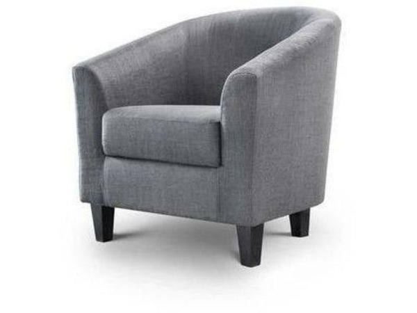 Hugo Tub Chair Slate Grey Linen Fabric