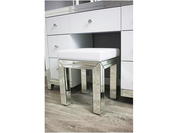 Bianco White MDF Glass dressing table set