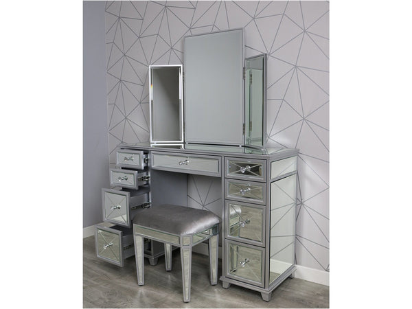 Saltire Grey Wood Glass Dressing Table Set