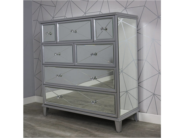 Saltire Grey MDF Glass Large Chest