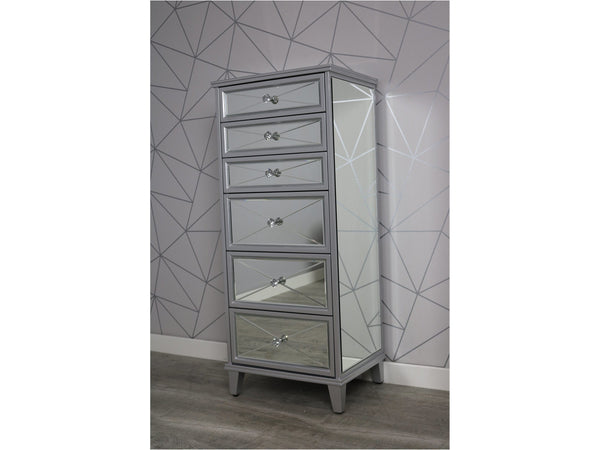 Saltire Grey MDF Glass Tallboy