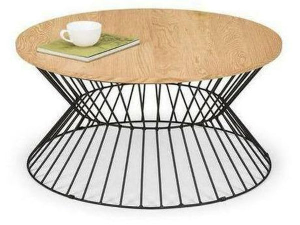 Jersey Round Wire Coffee Table Natural Oak