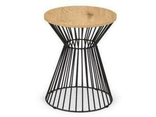 Jersey Round Wire Lamp Table Natural Oak
